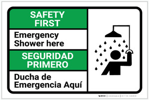 Safety First: Emergency Shower Here Bilingual Spanish - Label