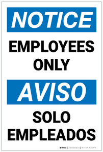 Notice: Employees Only Bilingual Spanish - Label