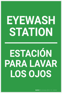 Eyewash Station Portrait No Icon Bilingual Spanish - Label