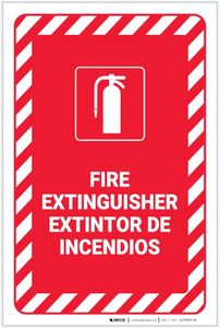 Fire Extinguisher Bilingual Spanish - Label