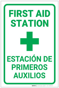 First Aid First Aid Station Bilingual Spanish - Label