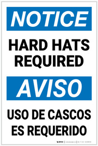 Notice: Hard Hats Required Bilingual Spanish - Label
