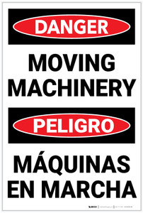 Danger: Hazard Moving Machinery Bilingual Spanish - Label