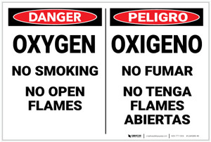 Danger: Hazard Oxygen No Smoking Bilingual Spanish - Label
