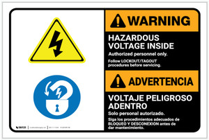 Warning: Hazardous Voltage Follow Lockout Procedures Bilingual Spanish - Label