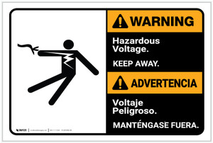 Warning: Hazardous Voltage - Keep Away Bilingual ANSI - Label