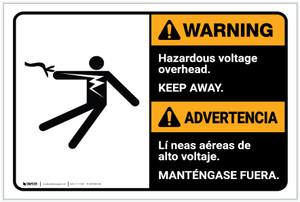 Warning: Hazardous Voltage Overhead Bilingual Spanish - Label