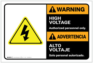 Warning: High Voltage Authorized Personnel Only Bilingual Spanish - Label