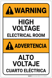 Warning: High Voltage Electrical Room Bilingual Spanish - Label