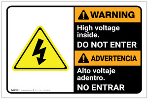 Warning: High Voltage Inside Do Not Enter Bilingual Spanish - Label