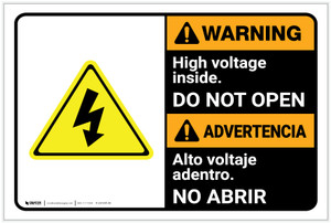 Warning: High Voltage Inside Do Not Open Bilingual Spanish - Label