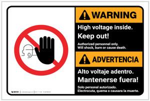 Warning: High Voltage Inside Keep Out Landscape Bilingual Spanish - Label