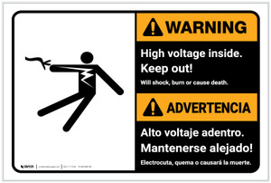 Warning: High Voltage Inside Keep Out Bilingual Spanish - Label