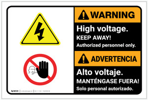 Warning: High Voltage Keep Away Bilingual Spanish - Label