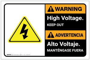 Warning: High Voltage Keep Out Landscape Bilingual Spanish - Label