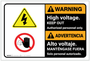 Warning: High Voltage Keep Out Bilingual Spanish - Label