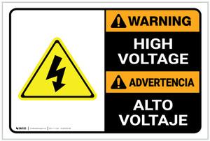 Warning: High Voltage Bilingual Spanish - Label