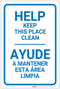 Help Keep This Place Clean Bilingual Spanish - Label