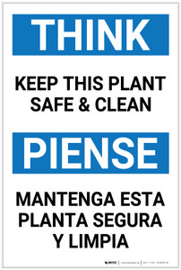 Think: Keep This Plant Safe And Clean Think Bilingual Spanish - Label