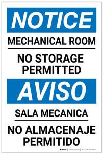 Notice: Mechanical Room No Storage Bilingual Spanish - Label