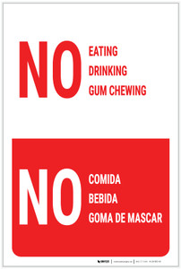 No Eating Drinking Gum Chewing Bilingual Spanish - Label