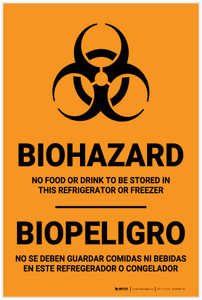 Biohazard: No Food Stored In Refrigerator Bilingual Spanish - Label