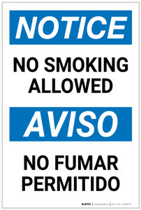 Notice: No Smoking Allowed Bilingual Spanish - Label