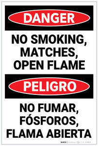 Danger: No Smoking Matches Flames  Bilingual Spanish - Label