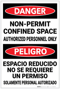 Danger: Non Permit Confined Space Bilingual Spanish - Label