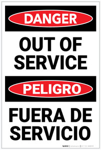 Danger: Out Of Service Bilingual Spanish - Label