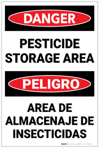 Danger: Pesticide Storage Area Bilingual Spanish - Label