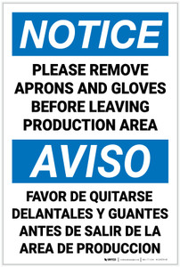 Notice: Please Remove Aprons Gloves Before Leaving Bilingual Spanish - Label