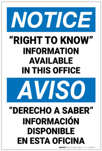 Notice: Right to Know Information Available Upon Request Bilingual Spanish - Label