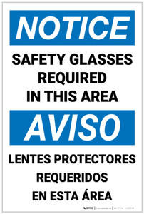 Notice: Safety Glasses Required Area Bilingual Spanish - Label