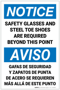 Notice: Safety Glasses Steel Toe Shoes Required Bilingual Spanish - Label