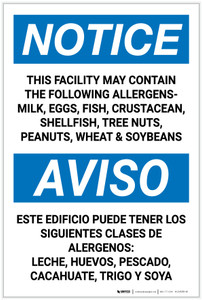 Notice: This Facility May Contain Bilingual Spanish - Label