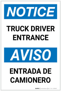 Notice: Truck Driver Entrance Bilingual Spanish - Label
