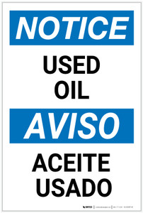 Notice: Used Oil Bilingual Spanish - Label