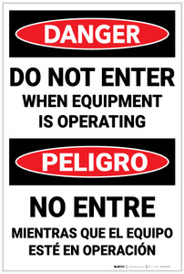 Danger: When Equipment Operating Bilingual Spanish - Label