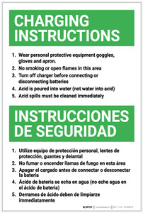 Battery Charging Instructions Bilingual Spanish - Label