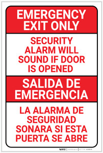 Emergency Exit Only: Security Alarm Will Sound if Door is Opened Bilingual - Label
