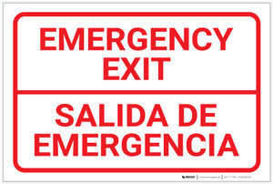 Emergency Exit Bilingual Spanish - Label