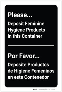Please Deposit Feminin Hygiene products in Container Bilingual Spanish - Label
