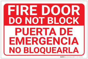 Fire Door Do Not Block Bilingual Spanish - Label