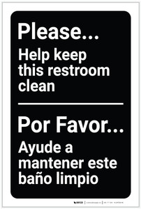 Please Help Keep This Restroom Clean Bilingual Spanish - Label