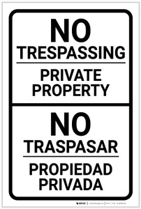 No Trespassing - Private Property Bilingual Spanish - Label