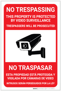 No Trespassing - This Property Proteted by Video Surveillance Bilingual Spanish - Label