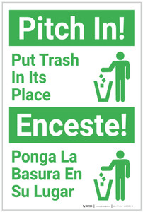 Pitch In: Put Trash in its Place Bilingual Spanish - Label