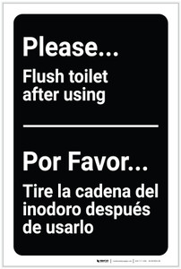 Please Flush Toilet After Using Bilingual Spanish - Label