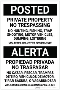 Posted: Private Property No Trespassing Bilingual Spanish - Label